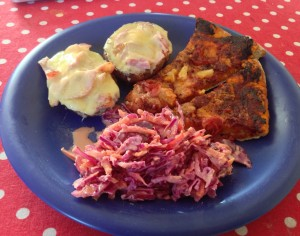 Potato skins recipe served with homemade pizza and homemade coleslaw