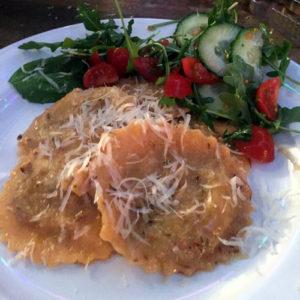 Buttery Lemon Pasta Sauce on Raviolli